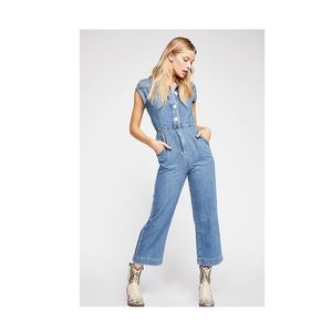 Free People Women's Blue Unchained Melody Jumpsuit
